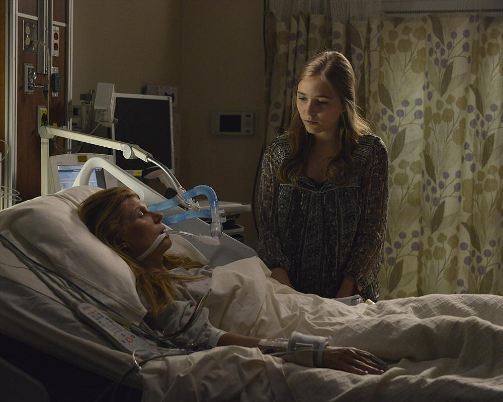 Connie Britton as Rayna, who's in a coma following her accident, and Lennon Stella on the season premiere of Nashville.