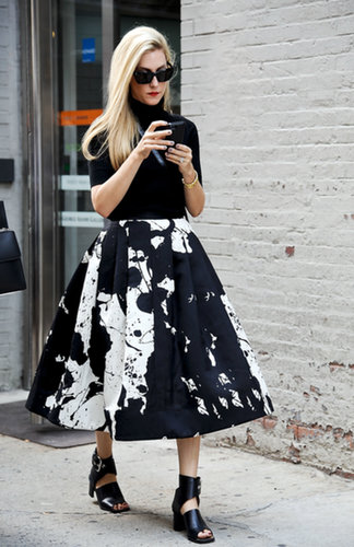 Joanna Hilmman made ladylike look so cool in a paint-splattered Tibi Resort 2014 skirt.