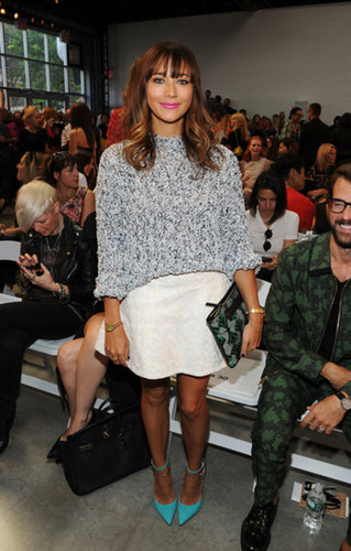 Rashida Jones was cool in a marbled sweater, a brocade miniskirt, and teal ankle-strap pumps while sitting front row at Thakoon.