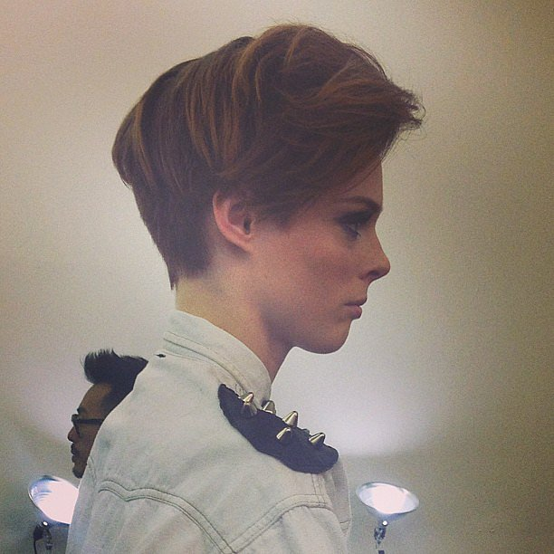 A close-up look at Coco Rocha's new pixie cut spotted backstage at Victoria Beckham.