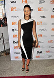 Thandie Newton was right on trend in a black-and-white sheath dress for the Half of a Yellow Sun premiere at the Toronto International Film Festival.