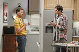 Two and a Half Men Jon Cryer and Ashton Kutcher on the season premiere of Two and a Half Men, airing Sept. 26 on CBS.
