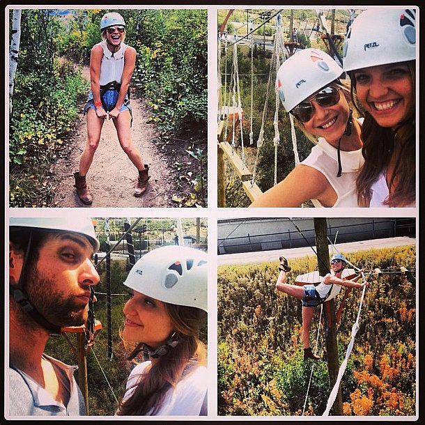 Who wears short shorts? Julianne Hough did when she hit the ropes course! Source: Instagram user juleshough