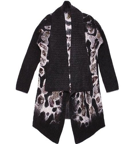Wool Drape-Front Leopard Cardigan - Exclusive