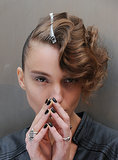 Brushed-out fingerwaves at dark nails at Alexandre Herchcovitch.