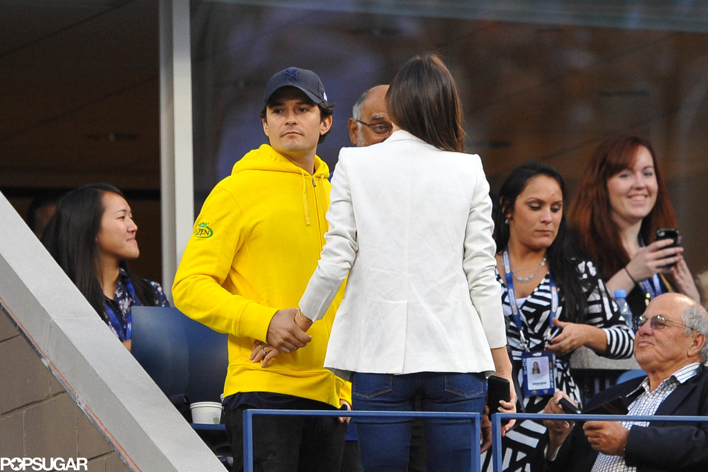 Miranda Kerr and Orlando Bloom held hands at the US Open.