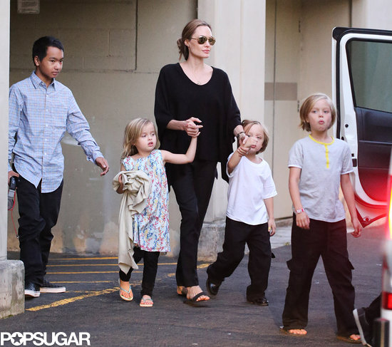 Angelina Jolie took her kids bowling in Sydney.
