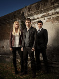 Claire Holt as Rebekah, Joseph Morgan as Klaus, and Daniel Gillies as Elijah on The Originals.