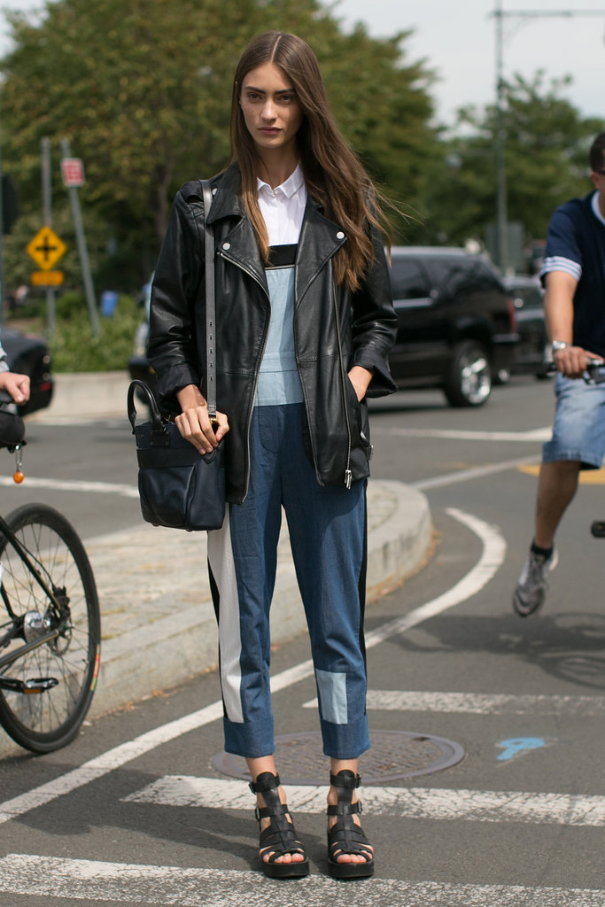 Tomboy-meets-tough-girl chic in a moto jacket and overalls.