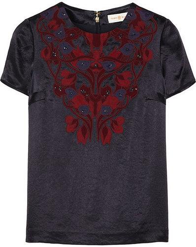 Tory Burch Tia appliquéd textured-satin top