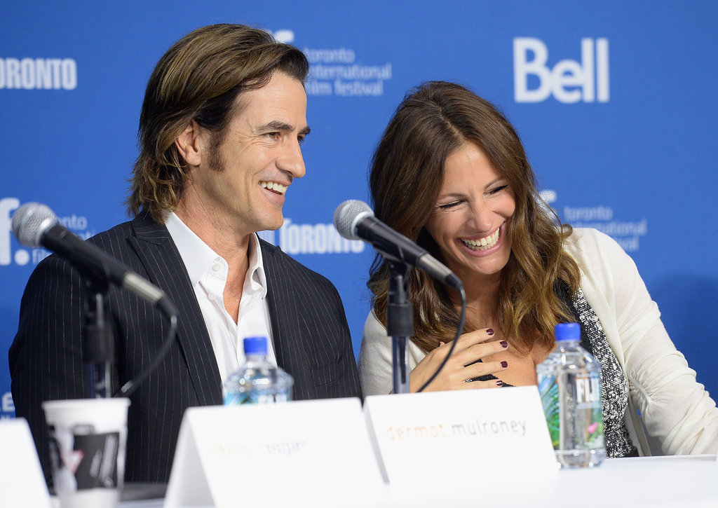 Julia Roberts and Dermut Mulroney joked around during the press conference for their film August: Osage County.