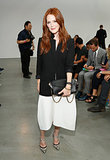 Julianne Moore's red hair popped against her chic black-and-white palette at Reed Krakoff.