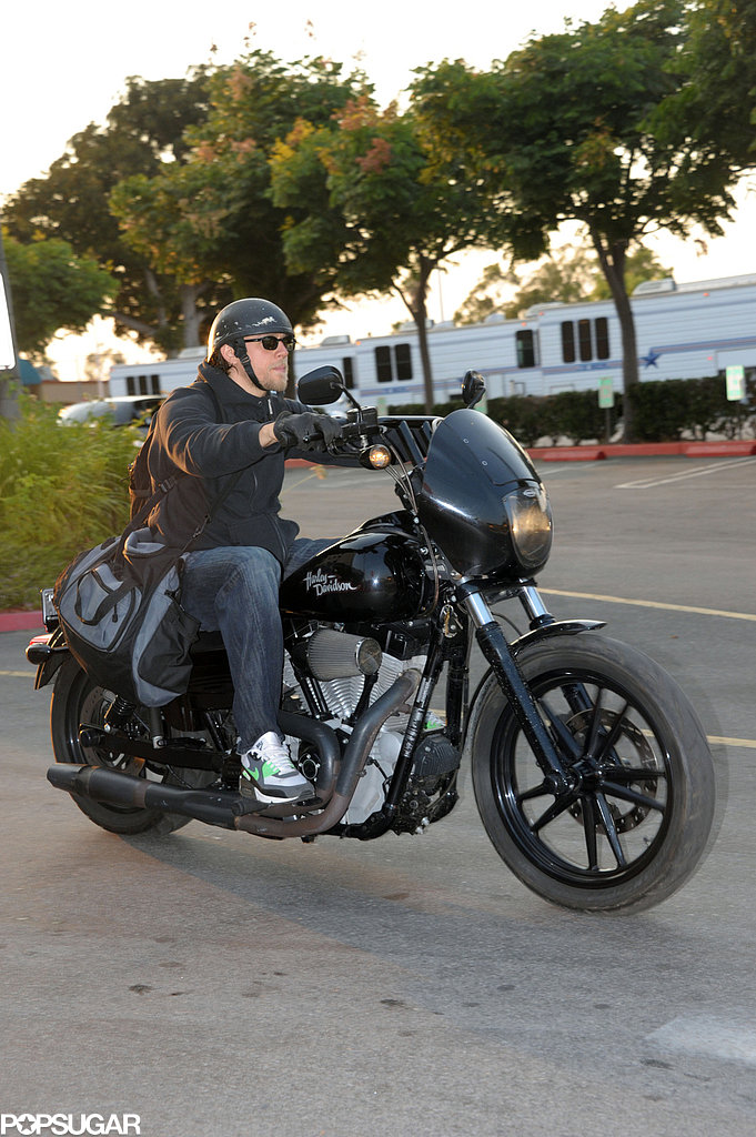 Charlie Hunnam rode his motorcyle on set.