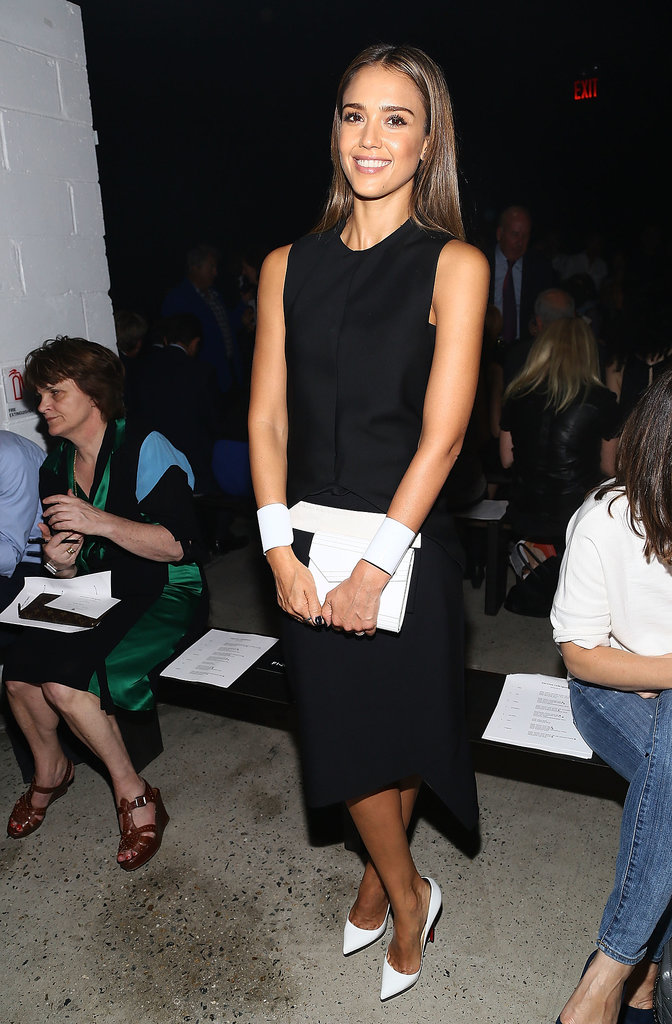 Jessica Alba stuck to a chic palette — black and white — while sitting front row at Narciso Rodriguez.