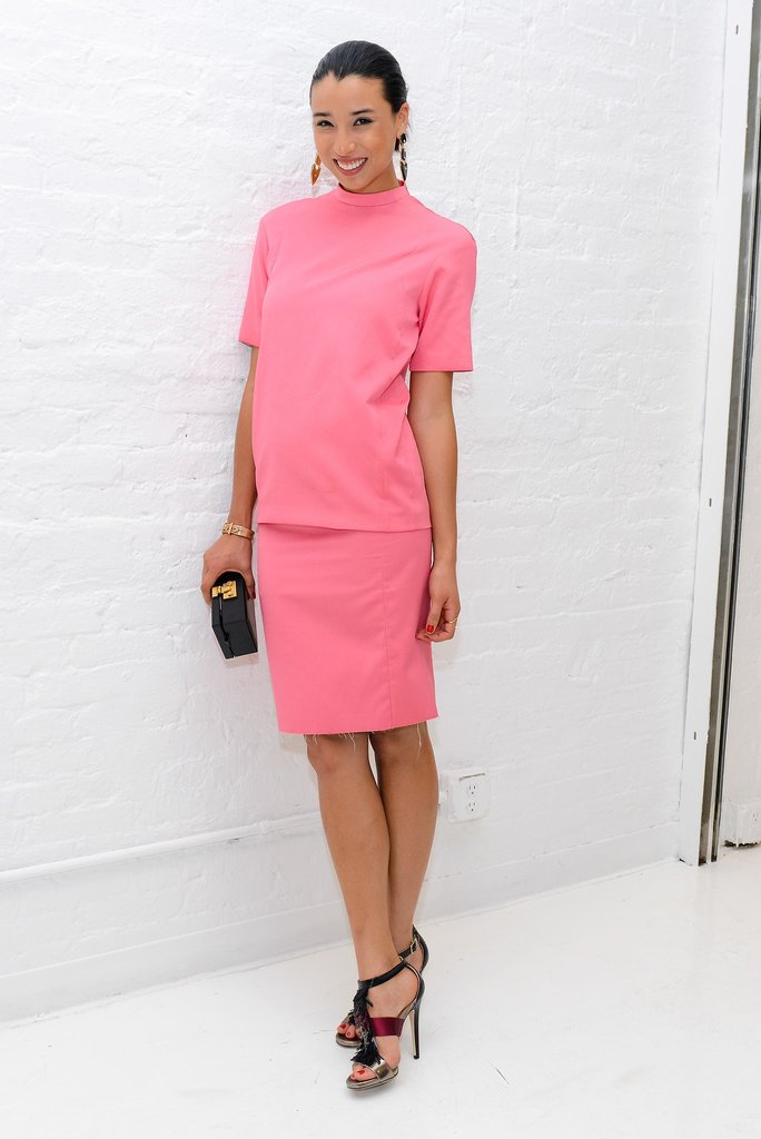 Lily Kwong stepped out for Bottega Veneta in pink.