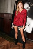 While feting Interview, Constance Jablonski worked her gams in leather shorts.