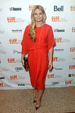 Jennifer Morrison created a fashionable pairing with a red draped dress and leopard pumps at the Felony premiere.