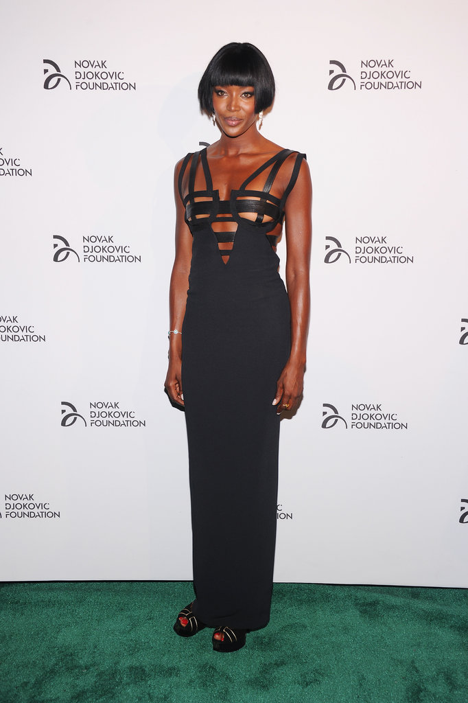While dining with The Novak Djokovic Foundation, Naomi Campbell worked a daringly sexy design.