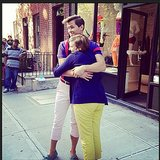 Lena Dunham gave a goodbye hug to her Girls costar Andrew Rannells after they finished filming the show's third season. Source: Instagram user lenadunham