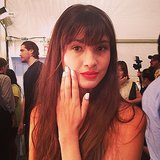 Red lips plus white nails backstage at Nanette Lepore.