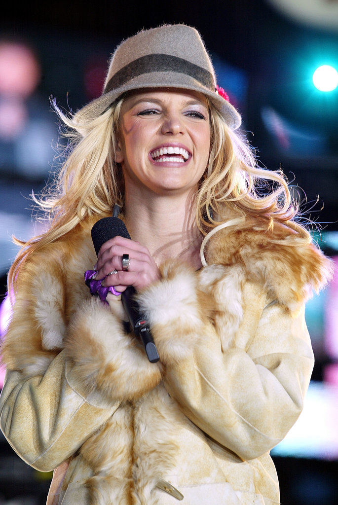 Britney Spears performed live in Times Square during TRL in 2003.
