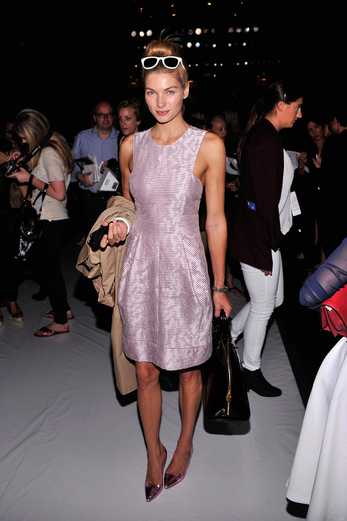 Jessica Hart looked pretty and polished front row at J. Mendel.