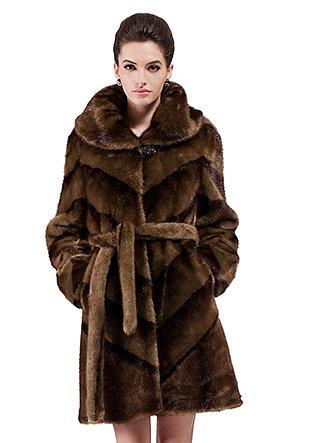 Tina/faux brown diagonal stripes mink fur/middle fur coat - New Products