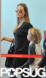 Angelina Jolie wore aviator sunglasses to take a flight in Australia.