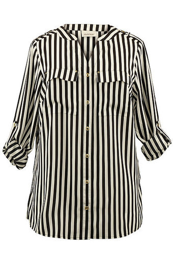 STRIPED BUTTON FRONT