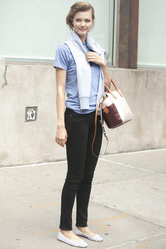 Lindsey Wixson looked preppy perfect in jeans and flats.