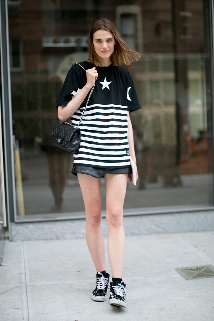 We love the way she wore her stripes — with a little Chanel.