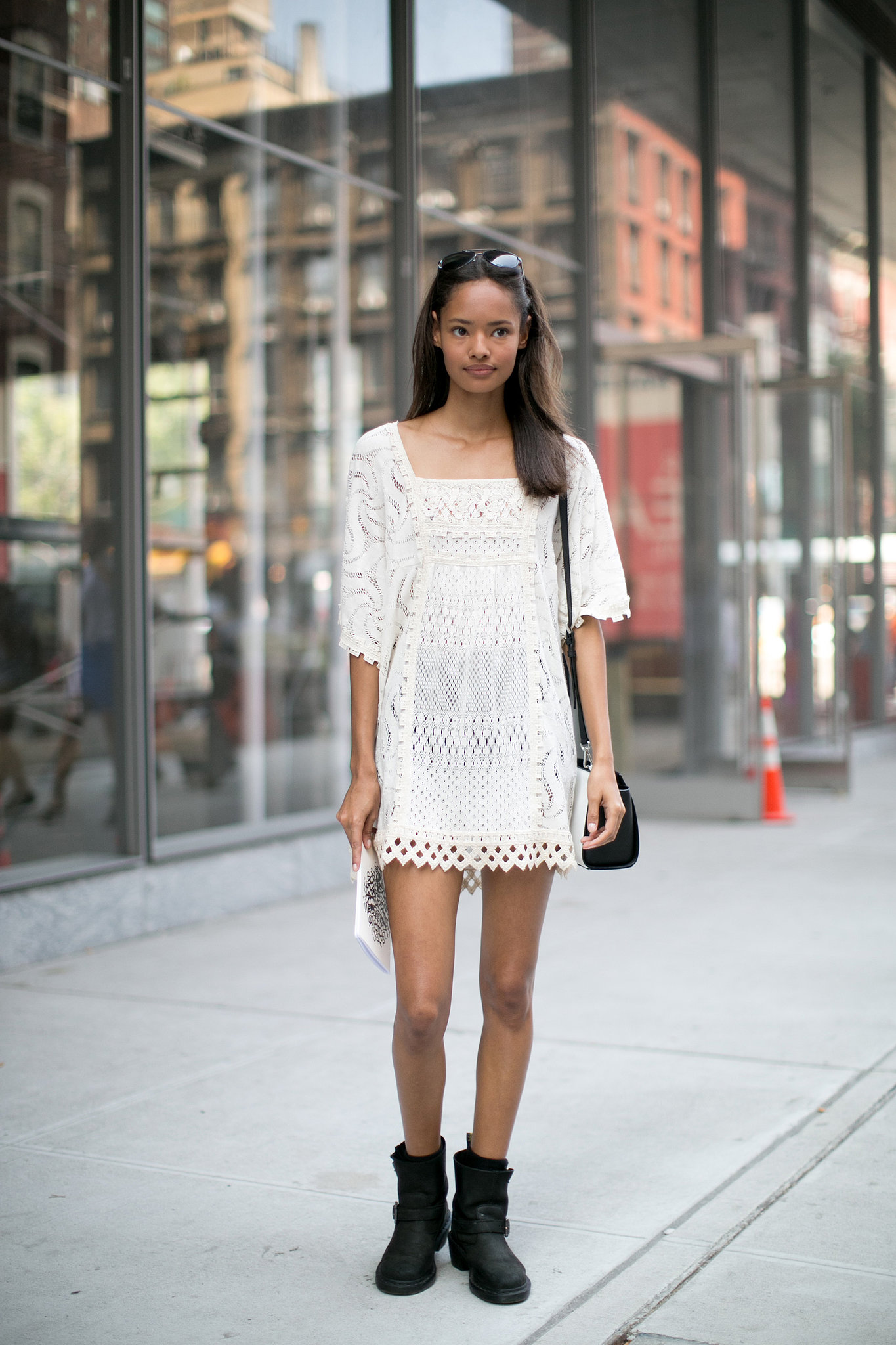 how to wear biker boots with a dress