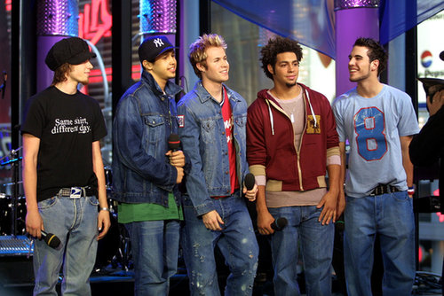 The boy band O-Town visited TRL in NYC in 2001.