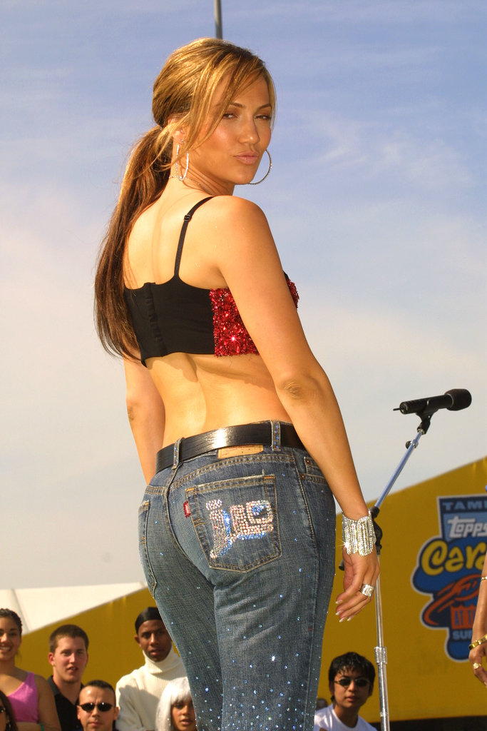 Jennifer Lopez performed during MTV's TRL at the Super Bowl in Tampa, FL, in 2001.
