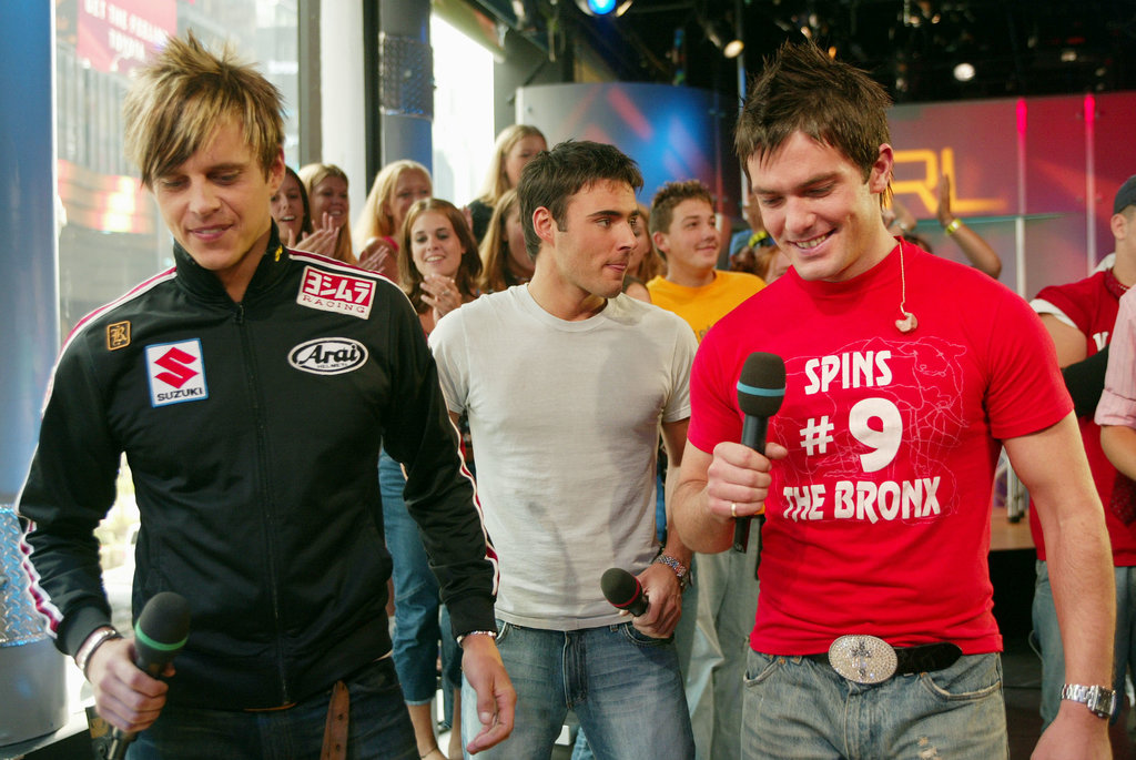 Boy band BBMak visited the TRL studio in NYC in 2002.