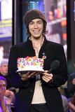 Incubus's Brandon Boyd held up a birthday cake on TRL in 2002.