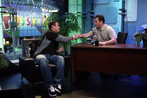 "Jimmy Kimmel sat in a ""practice"" late-night desk to interview Carson Daly on TRL in 2003."