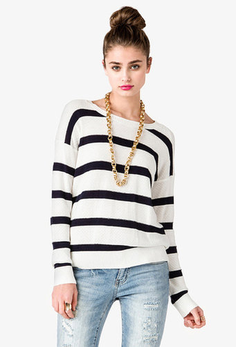 FOREVER 21 Striped Pointelle Sweater