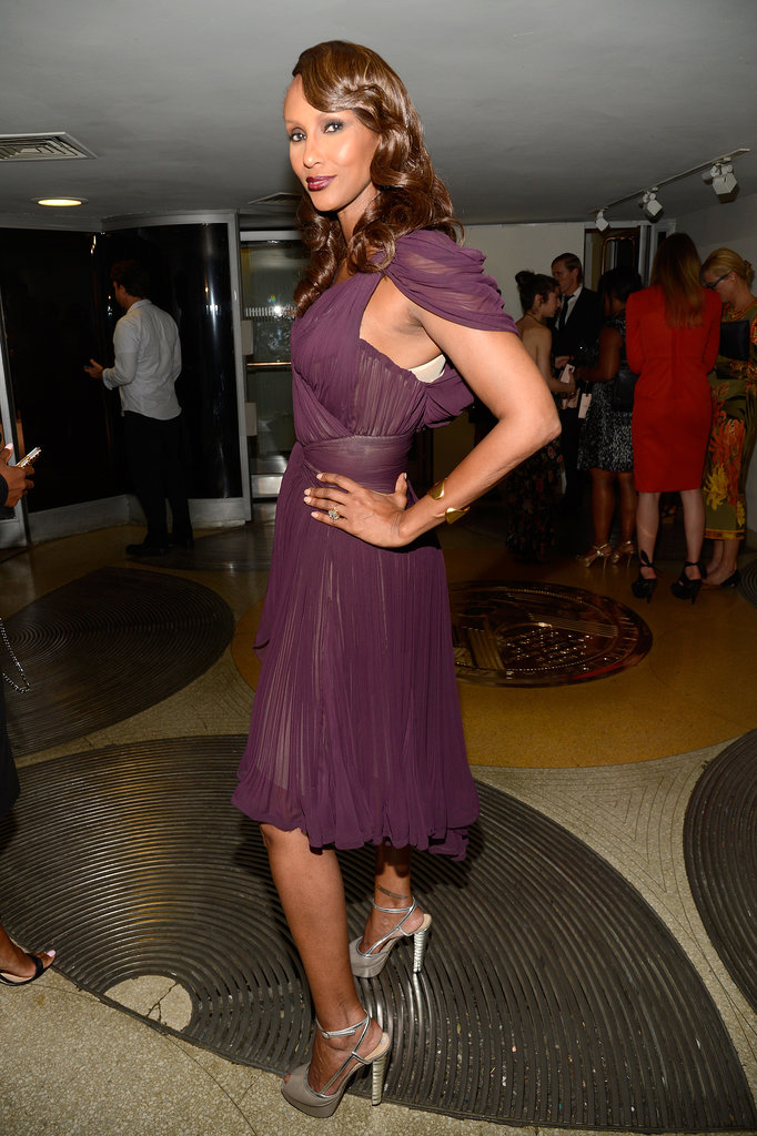 Iman wore a maroon number to the Estée Lauder party.
