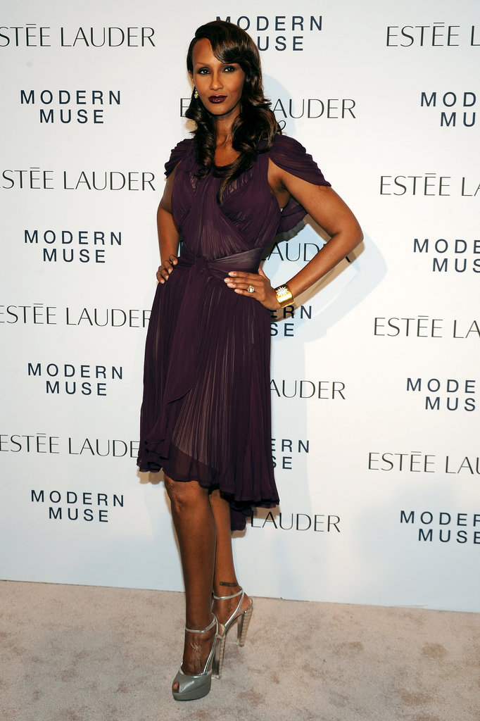 Iman looked smoldering as ever in a plum Zac Posen design at Estée Lauder's Fashion Week bash.