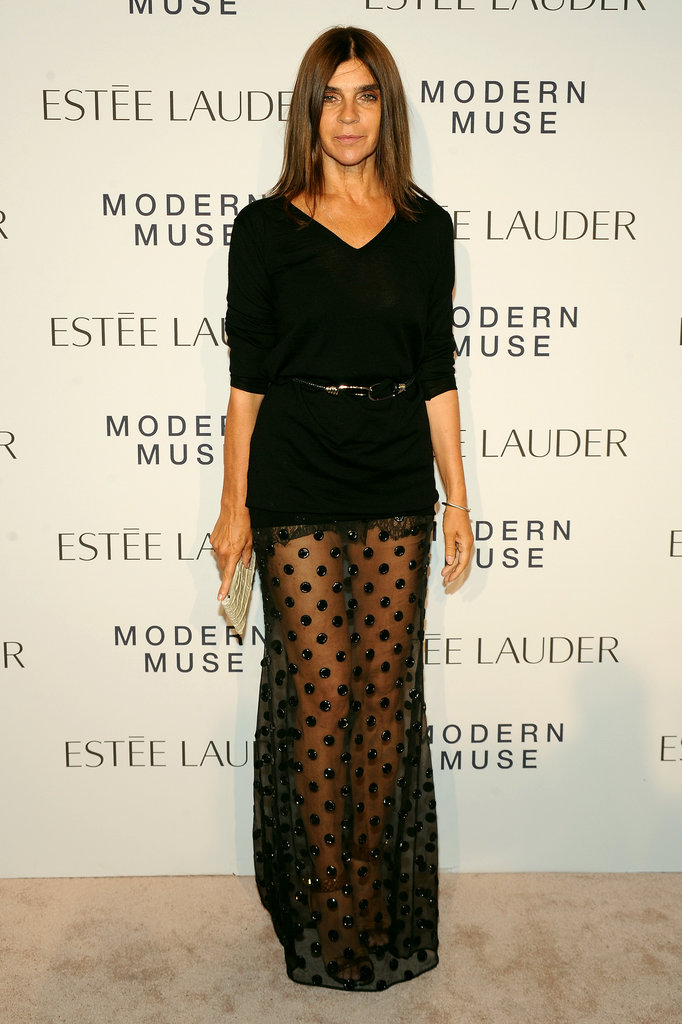 Carine Roitfeld played peek-a-boo at Estée Lauder's Modern Muse launch.