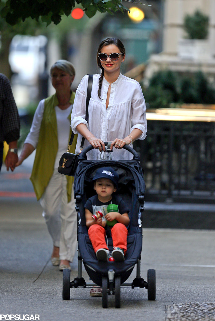 Miranda Kerr pushed Flynn in his stroller in NYC.