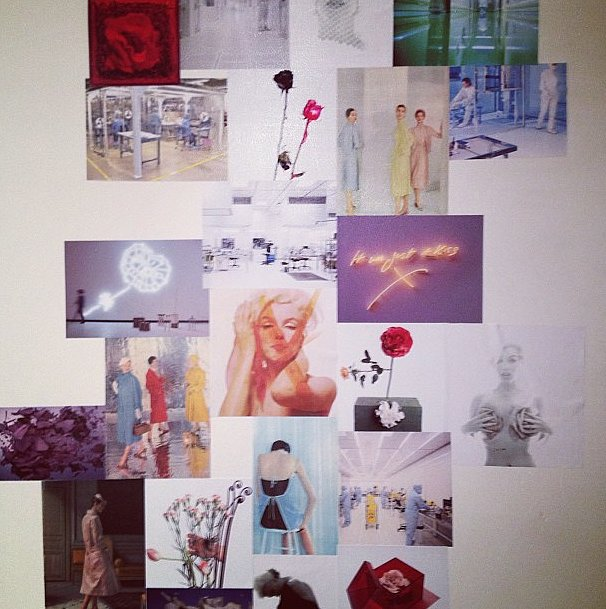 The inspiration board backstage at Prabal Gurung.
