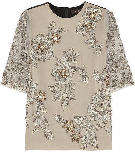 Biyan Jane embellished silk-blend top