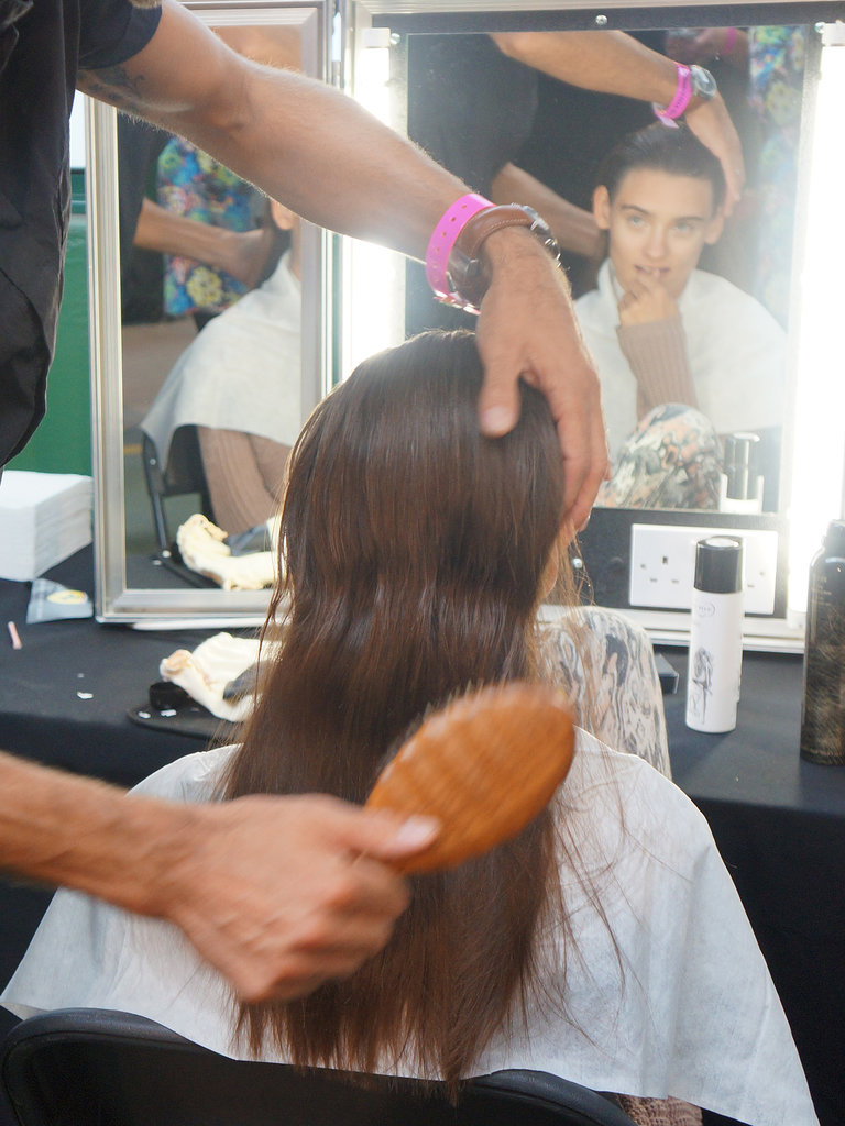 The Percy & Reed team prepped the hair backstage at House of Holland Spring 2014.
