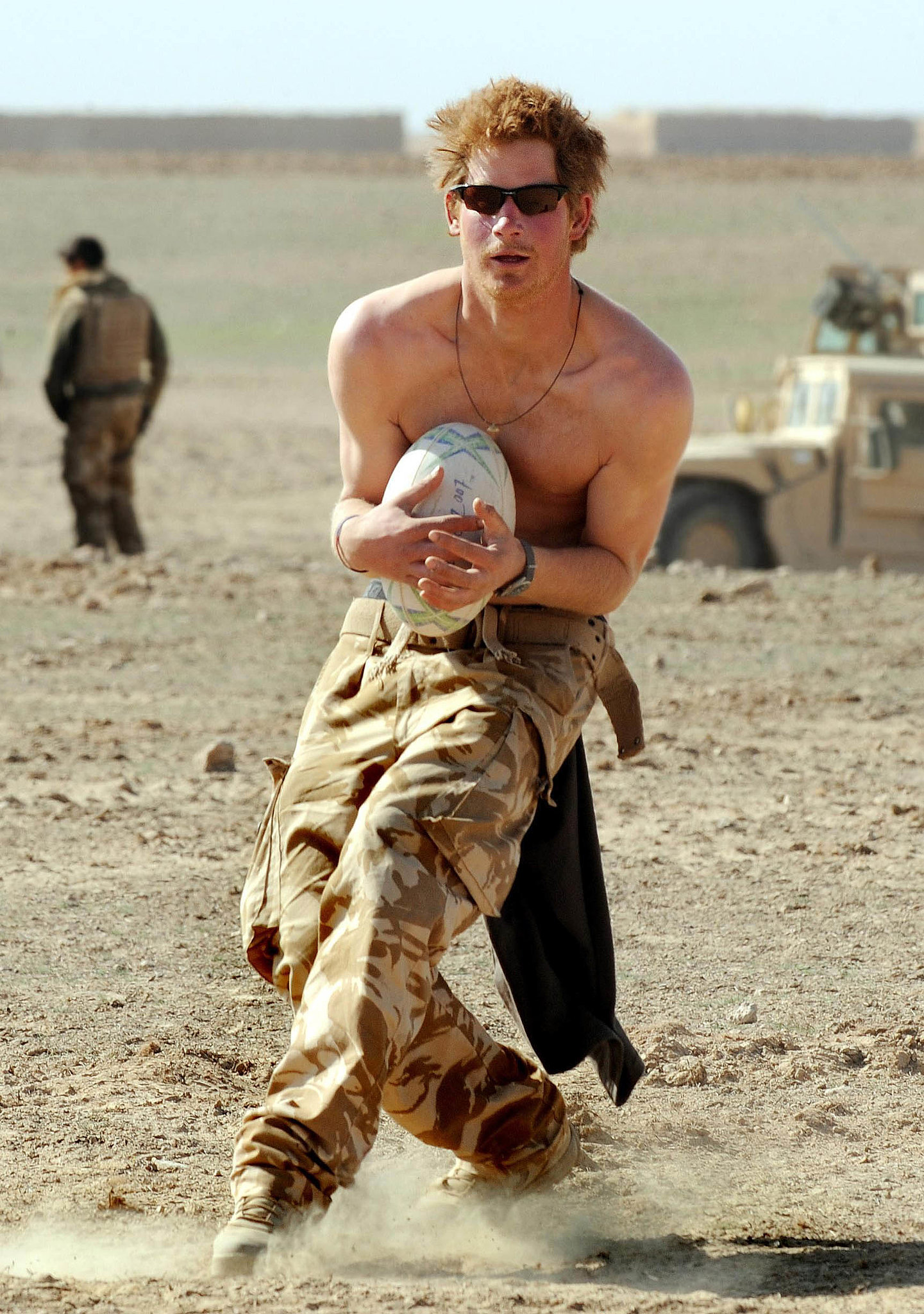 In 2008, Prince Harry went shirtless to play rugby in Afghanistan.