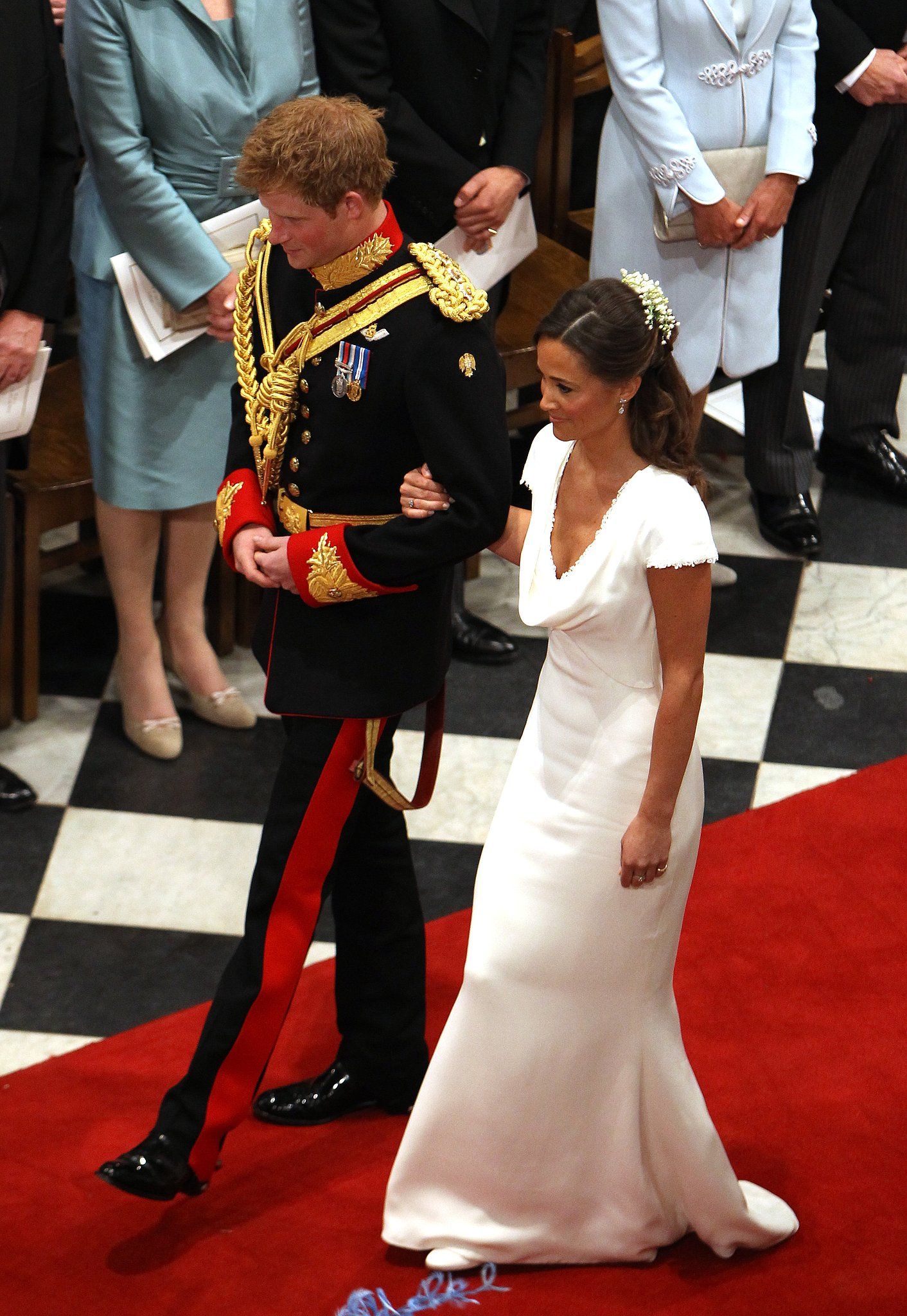 Prince Harry escorted Pippa Middleton out of Westminster Abbey after the wedding of Prince William and Kate Middleton in April 2011.
