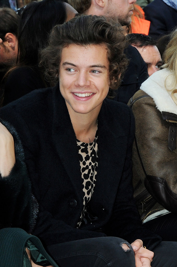 Harry Styles was all smiles at the Burberry Prorsum show.
