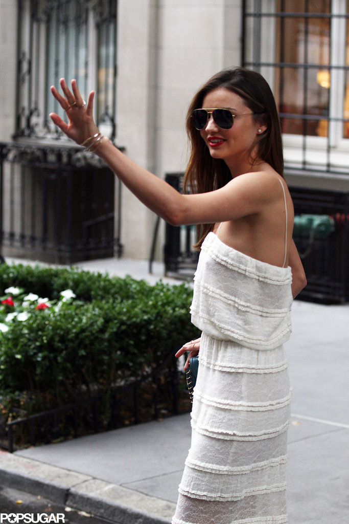 Miranda Kerr gave a wave when she stepped out in NYC on Monday.