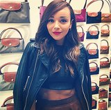 Ashley Madekwe posed in front of a colorful wall of Longchamp bags at the label's London flagship opening. Source: Instagram user smashleybell